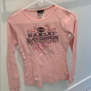 Harley Davidson Women's Long Sleeve Pink T-shirt
